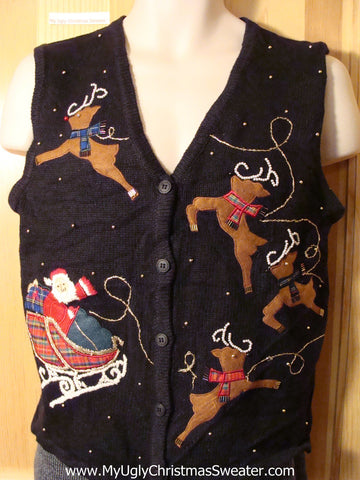 Tacky Ugly Christmas Sweater Vest with Santa and Reindeer (f622)