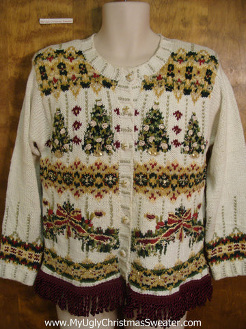 Cute Christmas Sweater 80s Green and Gold