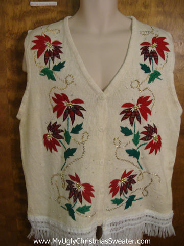Poinsettias and Green Boughs Cute Christmas Sweater Vest