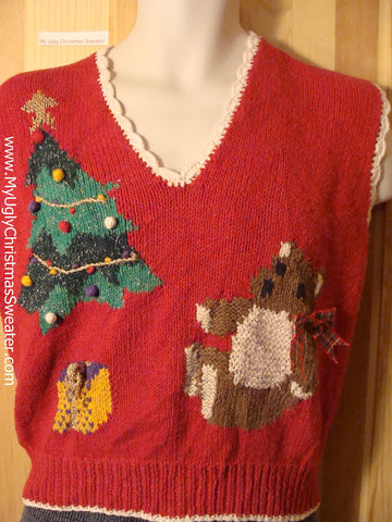 Tacky 80s Style Ugly Christmas Sweater Vest with Giant Bear and Tree (f623)