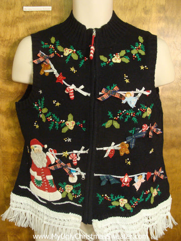 Santa Hanging Christmas Boughs Cute Christmas Sweater Vest