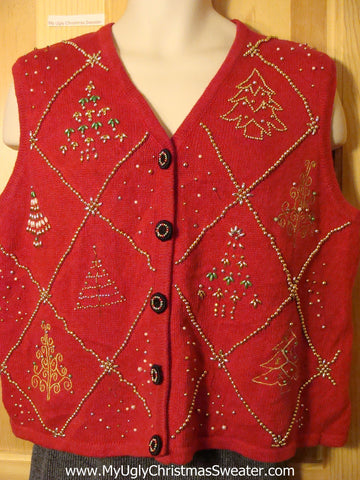 Tacky Cheap Ugly Christmas Sweater Vest with Bling Christmas Trees (f624)