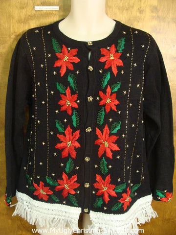 Fun Poinsettias Cute Christmas Sweater