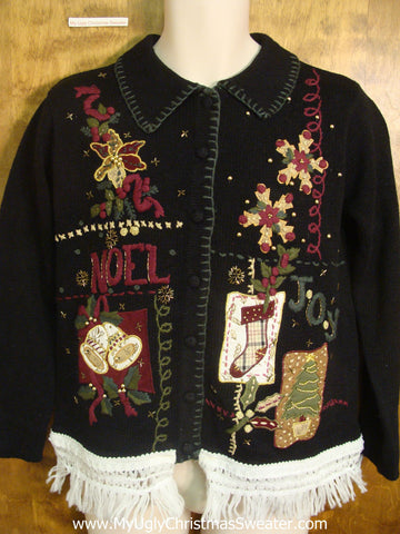 Cute Black Fancy Christmas Sweater