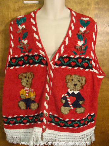 Cute Teddy Bear Christmas Sweater Vest