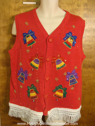 Cute Red Christmas Sweater Vest with Colorful Bells