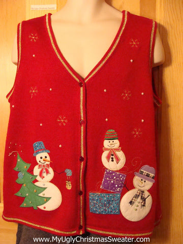Tacky Cheap Ugly Christmas Sweater Vest with Carrot Nosed Snowmen (f626)