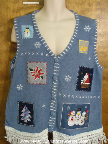 Patchwork Blue Cute Christmas Sweater Vest