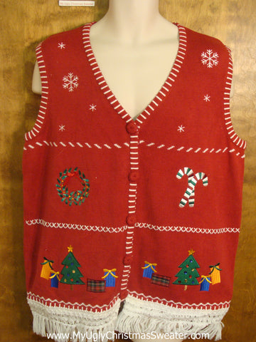 Fun Crafty Red Christmas Sweater Vest