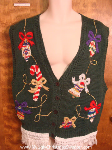 Fun 80s Christmas Sweater Vest with Candycane