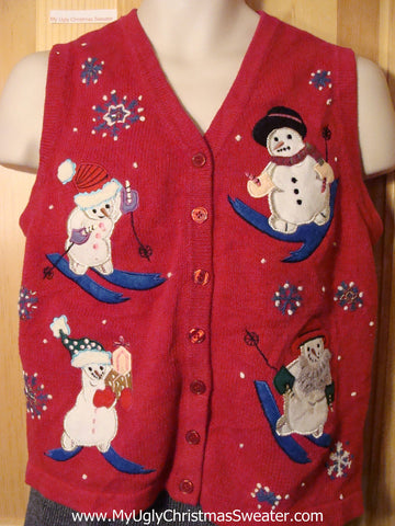 Tacky Cheap Ugly Christmas Sweater Vest with Four Festive Skiing Snowmen (f627)