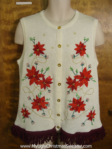 Festive Ivory and Red Christmas Sweater Vest