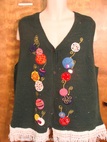 Colorful Ornaments Cute Christmas Sweater Vest