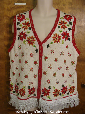 Ivory and Red Poinsettias Christmas Sweater Vest