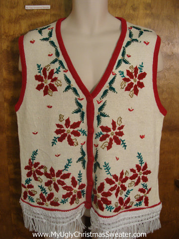 Horrible Poinsettias Christmas Sweater Vest