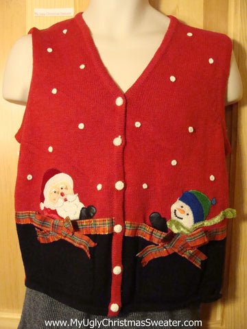 Tacky Cheap Ugly Christmas Sweater Vest with Santa and a Carrot Nosed Snowman and 3D Plaid Bows (f628)