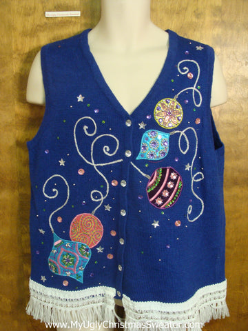 Bright Blue Christmas Sweater Vest with Ornaments