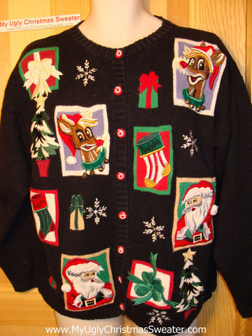 Tacky Ugly Christmas Sweater Santa & Rudolph the Reindeer (f62)