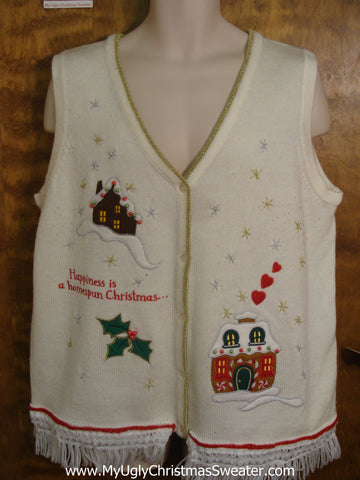 """Happiness is a Homespun Christmas"" Ugly Sweater Vest"