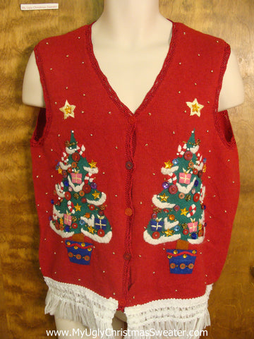 Twin Xmas Trees Ugly Sweater Vest