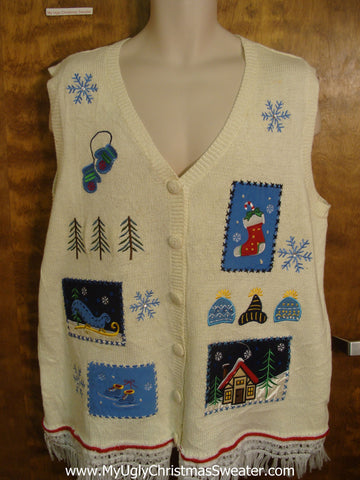 Ivory Patchwork Ugly Sweater Vest