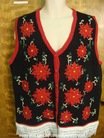 Poinsettias in the Night Ugly Sweater Vest