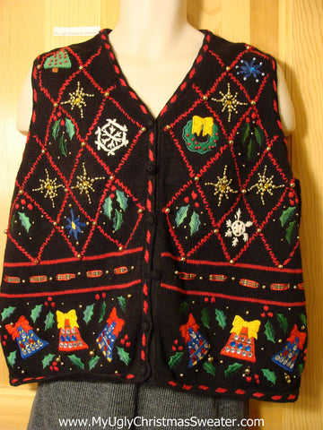 Tacky Cheap Ugly Christmas Sweater Vest with Festive Bling Bead Decorations (f630)
