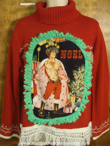Red Funny Ugly Sweater with Naughty Hottie Guy