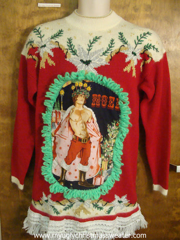 80s Funny Ugly Sweater with Naughty Hottie Guy