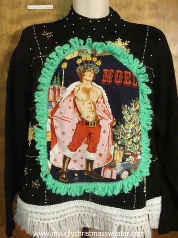 80s Black Funny Ugly Sweater with Naughty Hottie Guy
