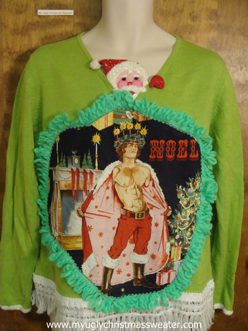 Santa Peeking Out Funny Ugly Sweater with Naughty Hottie Guy