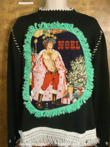 Horrible Black Funny Ugly Sweater with Naughty Hottie Guy