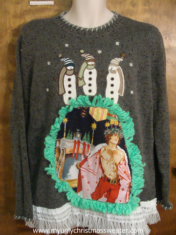 Winter Snowmen Funny Ugly Sweater with Naughty Hottie Guy