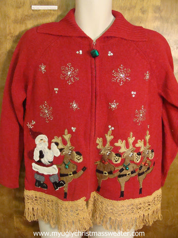 Can-can Santa and Reindeer Ugly Christmas Sweater