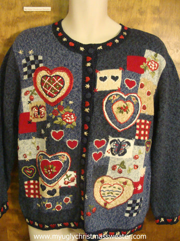 Heart Designs and Retro Holiday Decorations Ugly Sweater with Hearts