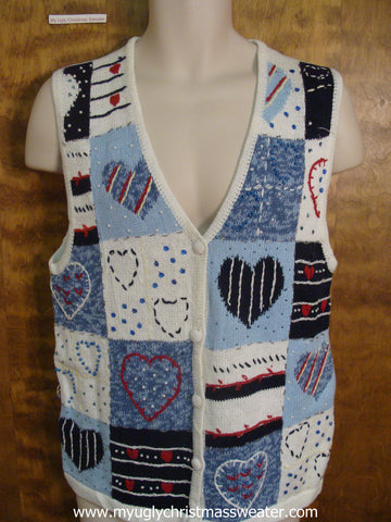 Heart Designs Ugly Sweater Vest with Hearts