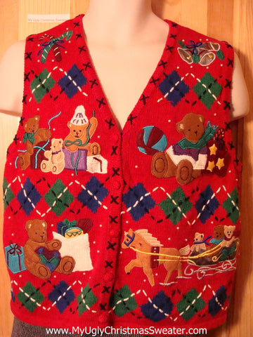 Tacky Bear Themed Cheap Ugly Christmas Sweater Vest with Horse and Sleigh (f632)