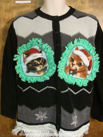 Black and Gray Chevron Christmas Cat Ugly Sweater