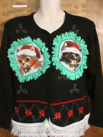 Christmas Poinsettias and Boughs Christmas Cat Ugly Sweater