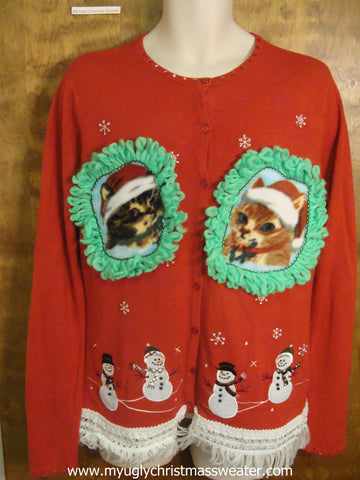 Jolly Winter Snowmen Christmas Cat Ugly Sweater