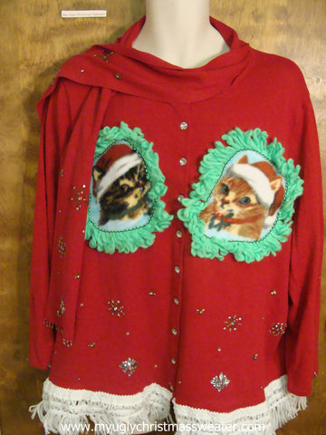 Bling Accents Christmas Cat Ugly Sweater
