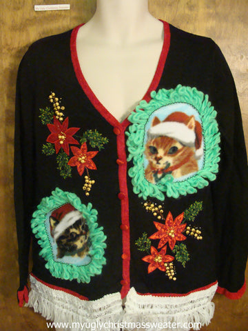 Red Poinsettias and Green Leaves Christmas Cat Ugly Sweater