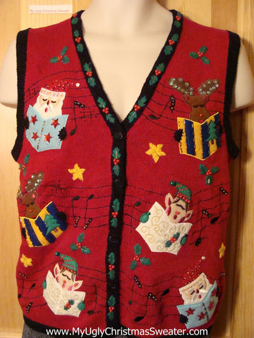 Tacky Cheap Ugly Christmas Sweater Vest with Carolling Santa, Elves, and Reindeer with Bling (f633)