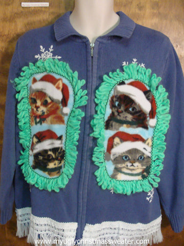 Blue Snowflake Christmas Cat Ugly Sweater
