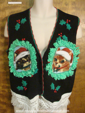 Cute Kittens Christmas Cat Ugly Sweater Vest