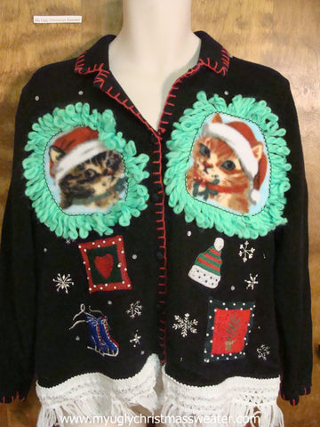 Winter Hats and Skates Christmas Cat Ugly Sweater