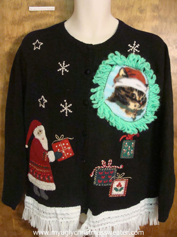 Santa Delivering Presents Christmas Cat Ugly Sweater