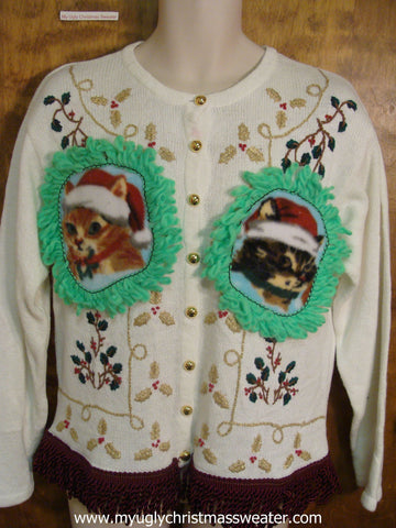 Green, Gold, and Red Accents Christmas Cat Ugly Sweater