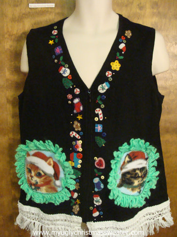 Candy Canes, Presents, and More Christmas Cat Ugly Sweater Vest