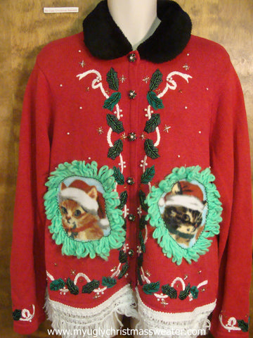 Holly Berries Tied With Ribbons Christmas Cat Ugly Sweater